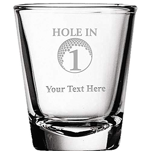 Custom Shot Glasses, Personalized Hole in 1 Golf Shot Glass Gift Engraved Prime ()