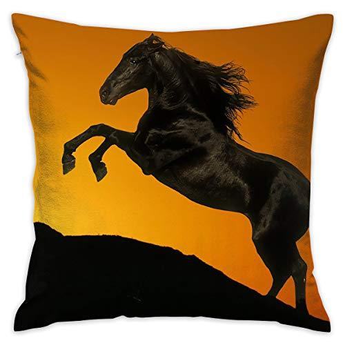 Karen Felix Throw Pillow Covers Sunrise Horse Jumping Decorative Cushion Case for Sofa Bedroom Car 18 X 18 Inch 45 X 45 cm