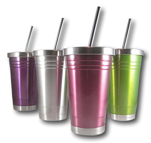 Colorful 16 Oz Stainless Steel Double Walled Insulated Tumbler and Lid and Straw by plumwood and vine (Pink)