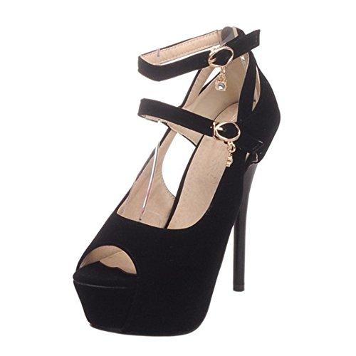 Black TAOFFEN Toe Summer Peep Shoes Women qTgvTHX