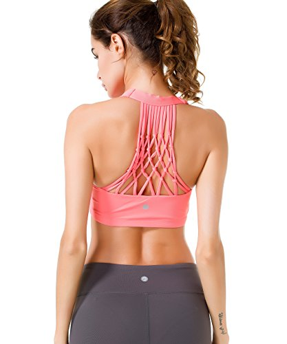 827b660507738 Queenie Ke Women s Medium Support Hand-Knited Nest Back Sport Fast Lane Bra  Size M Color Pink