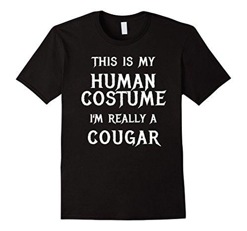 Mens Cougar Halloween Costume Shirt Easy Funny for Women Men Boys XL Black - Kids Cougar Costume
