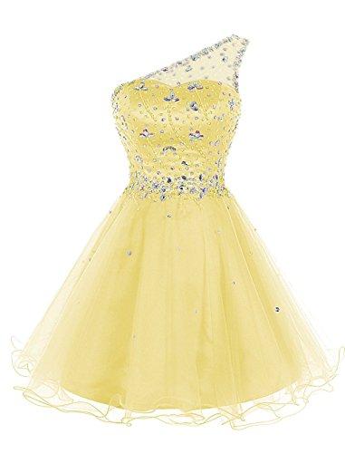 Kleid Crystal Fanciest Homecoming Kurz Women's Clover Shoulder Dresses Abendkleid Yellow One qzRUxz