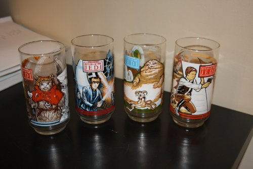 Star Wars Return of the Jedi Collectible Vintage Set of 4 Glasses