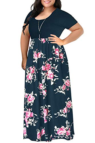 Floral Maxi Dress Short Sleeve Plus Size Floor Length Party Dress 16W Dress Floor Length Dress