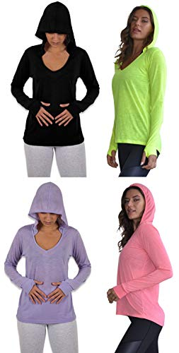 Sexy Basics Women's 4 Pack Flowy Slub Burnout Long Sleeve Hoodie V Neck Shirt with Thumb Hole/Light & Active Tops (4 Pack- Black/Pink/Lavender/Yellow, Small) ()