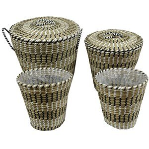JVL Round Straw Waste Paper Basket Assorted 25cm x 25cm