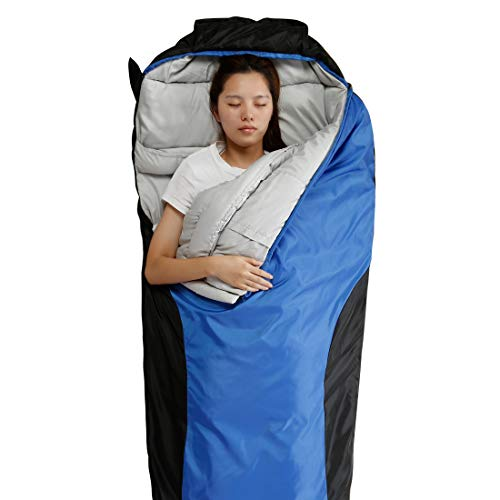 20 Sleep Bag - FARLAND Camping Sleeping Bag-EnvelopeMummy Outdoor Lightweight Portable Waterproof Perfect for 20 Degree Traveling,Hiking Activities(Dark Blue & Black/Right Zip, Mummy)