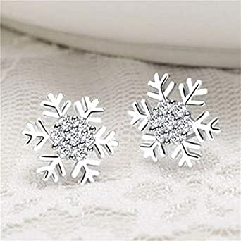 HENGSONG Earrings Studs Womens Sterling Silver Earring Set Valentine's Day Gift Earrings for Women Plated Silver Snowflake