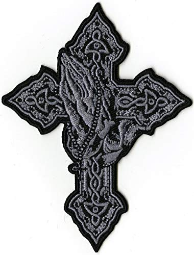 Cross Praying Hands Patch | Religious Christian Iron or Sew On Embroidered | Small 4