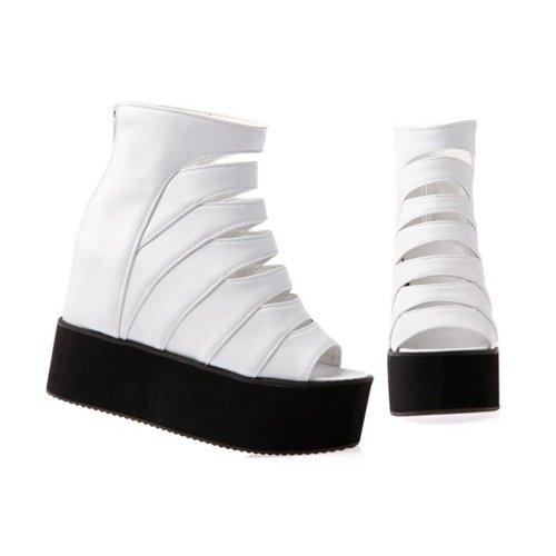 Zipper Wedges Soft Open Solid 1 High VogueZone009 Platform Toe Womens Material with White UK PU Peep Heel Sandals 65wwzq0
