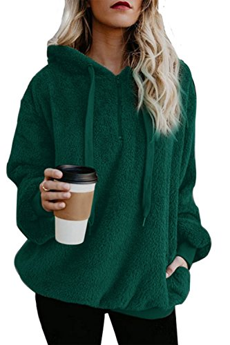 ReachMe Women's Oversized Sherpa Pullover Hoodie with Pockets 1/4 Zip Sweatshirt(Green,X-Large) -