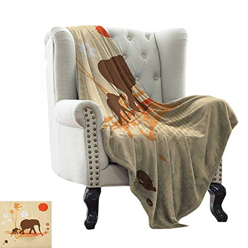 BelleAckerman Baby Blanket Yarn Elephant,Mother Baby Elephants in Tropical Lands Desert Illustration of Safari Kids, Orange Brown Cream Throw Lightweight Cozy Plush Microfiber Solid Blanket - Sports Throws Biederlack