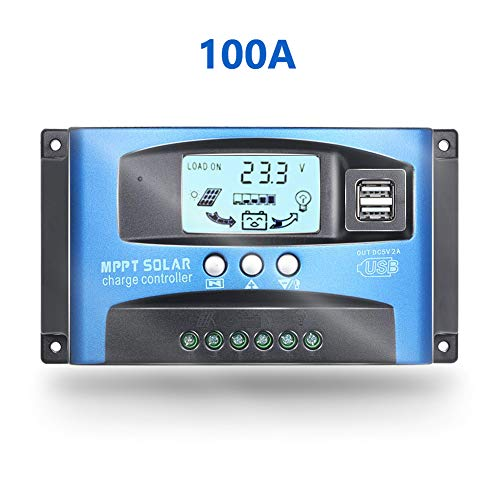 Fuhuihe 12V/24V MTTP Solar Charge Controller Solar Panel Battery Charger Intelligent Regulator with Dual USB Port LCD Display Overcurrent Protection for Home, Industry, Commercial (Blue, 100A)