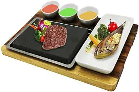 Fecihor Cooking Stones set, Steak Cooking Rocks set, include Stainless Steel Platter,Dipping Bowls, Bamboo Serving Tray, Steak Grilling Stones for Table Top Cooking (7.87''x 5.91'' x 0.78'')