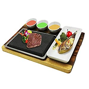 "Fecihor Cooking Stones set, Steak Cooking Rocks set, include Stainless Steel Platter,Dipping Bowls, Bamboo Serving Tray, Steak Grilling Stones for Table Top Cooking (7.87""x 5.91"" x 0.78"")"