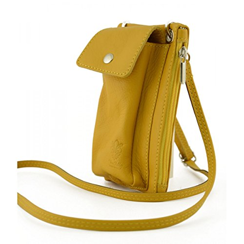 Mini Borsello Unisex Con Tasca Per Smartphone Colore Giallo - Pelletteria Toscana Made In Italy - Borsa Uomo