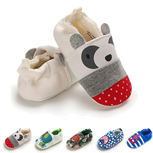 Sakuracan Baby Shoes Boys Girls Hard Bottom Walking Sneakers Toddler Anti-Slip Rubber Sole First Walkers Infant Cartoon Crib Shoes(6-9 Months Infant, A-Beige Panda) (Best Shoes For Crawlers)