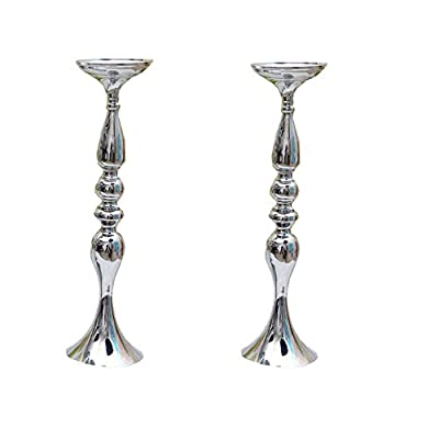 LANLONG 2 Pieces 50cm Height Metal Candle Holder Candle Stand Wedding Centerpiece Event Road Lead Flower Rack (Silver x 2)