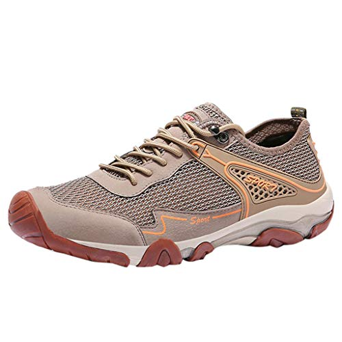 Alpine Outdoor Vent - Men Hiking Shoes Low Top Casual Summer Breathable Mesh Lightweight Sneaker Walking Training Work Shoes (US:9, Khaki)