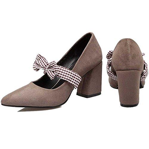 Printemps Bowtie De De Belles Les Escarpins De Mode Sjjh Soie Mignon Et Chaussures Avec Pour Femmes Materail Gris Suède La w7qCqtR
