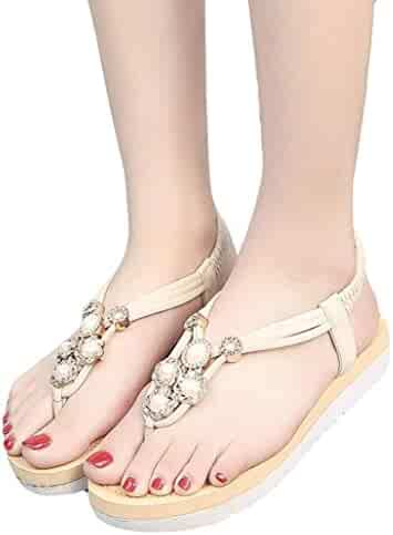 8c22601b9230 BSGSH Womens Casual Flower Beaded Platform Wedge Elastic Slip On Flat  Sandals Summer