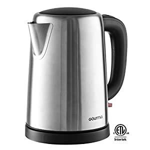 Gourmia GK250 Supreme Electric Tea Kettle - 1.7L- Cordless- Stainless Steel- Speed Boil - Auto Shutoff Boil Detect - Concealed Element - 360° Swivel Base - 1500 Watts,110v