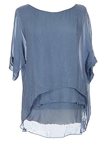 Sevello Clothing Womens Italian Short Sleeve Frill Silk Tunic Blouse USA 6-12 (Cornflower ()
