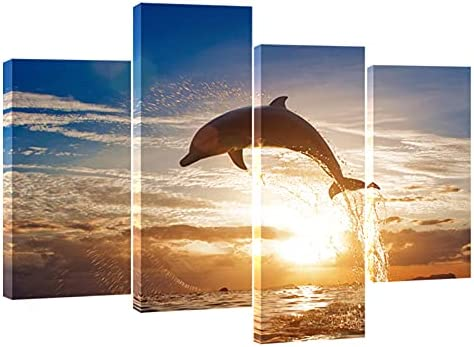 set of two .10x20 Ocean seascape with frolicking sea animals.Colorful seas /& sky whales original art acrylic paintings Dolphins