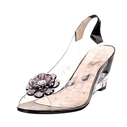 Jiyaru Women Plastic Sandals Clear Flower Peep Toe Wedge Sandal Black 39 US7.5