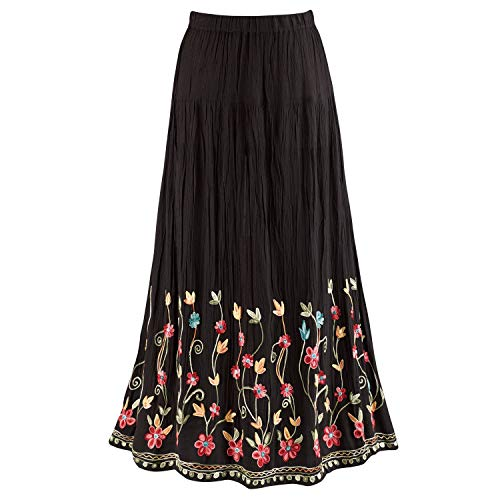 CATALOG CLASSICS Women's Floral Embroidered Flowering Vines Maxi Skirt - Black - Medium