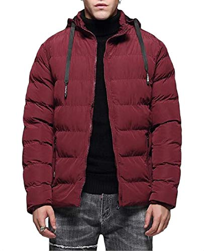 Cotton Padded amp;E Jacket Quilted Parkas H Mens Slim Outerwear Red Hoodie Coats nTwqW14Y