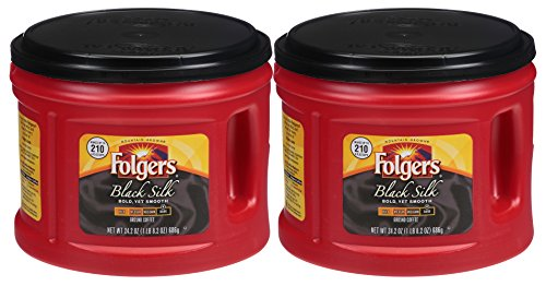 Folgers Black Silk Coffee 2-Pack, 2-24.2OZ Canisters, Bold, Yet Exceptionally Smooth (2 Pack)