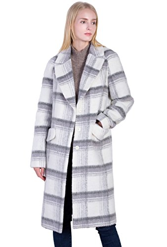 Vero Viva Women's Plaid Wool Over Coat Warm Winter Single-Breasted Wool Coat M (Winter Coat Plaid)