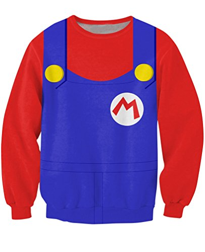 Arrive Mario Crewneck Sweatshirt Costume For Halloween Sick Jumper Sexy Sweats Women/Men 3D Fashion (Dog Mario Costume)