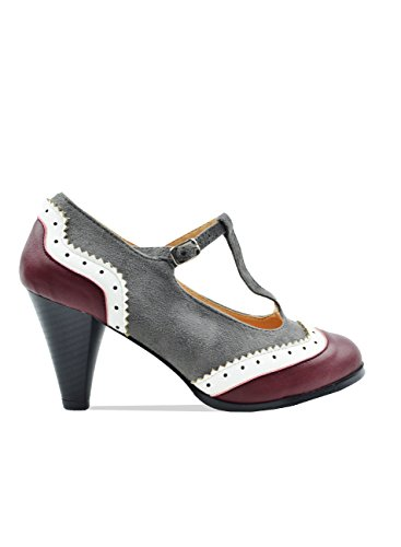 Oxford 3 Inch Pumps Heels - Chase & Chloe Dora-8 Women's Round Toe Two Tone T-Strap Oxford Pumps (10, Burgundy/Grey)