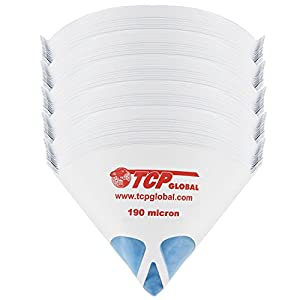 "TCP Global 250 Pack of Paint Strainers with Fine 190 Micron Filter Tips - Premium ""PURE BLUE"" Ultra-Flow Blue Nylon Mesh - Cone Paint Filter Screen"