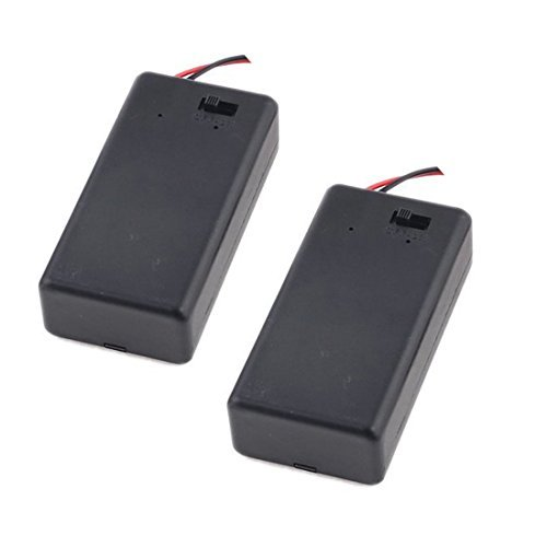 2 Pcs 9V Battery Holder with On Off Switch Cap Lead Wires (for 9V Batery) ()