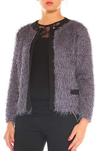 Giacca ma Sfrangiato In Elegante Blu Taglia Brillante Collections Lurex Jersey El Donna Morbida wxR5qnTH0E