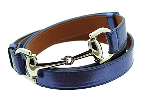 [Womens Thin Skinny Metal Tone Leather Belt Horsebit Buckle - Navy] (Horsebit Buckle Belt)