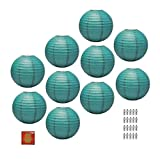Mudra Crafts Paper Lantern with Led Light, Chinese Japanese Decorative Round Hanging Lamp (Teal 12 Inches 10 Packs)