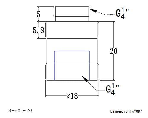 Grey B-EXJ-7.5 20mm Bykski Male//Female G1//4 Extension Coupler
