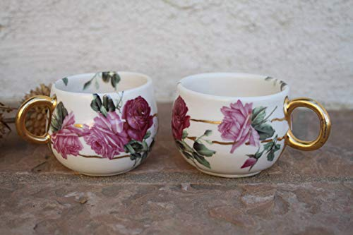Pink Roses Tea or Espresso Cup set of 2, handmade pottery small mugs