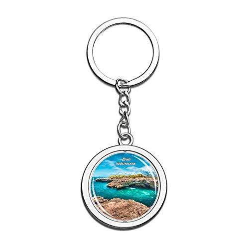 Indonesia Keychain Devil's Tears Bali Key Chain 3D Crystal Spinning Round Stainless Steel Keychains Travel City Souvenirs Key Chain Ring (Devils Round Crystal)