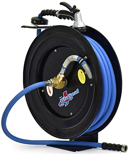 RMX BluSeal Retractable Water Hose Reel w/Lightest, Strongest, Most Flexible Hot Water Rubber Hose 1/2