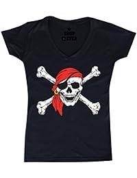 Jolly Roger Skull & Crossbones Women's V-Neck T-shirt Pirate Flag Shirts