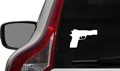 Gun Glock Pistol Right Version 1 Car Vinyl Sticker Decal Bumper Sticker for Auto Cars Trucks Windshield Custom Walls Windows Ipad Macbook Laptop and More (WHITE) (Glock Pistol Stickers)