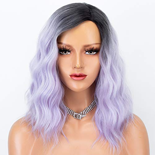 Persephone Cosplay Wavy Bob Wig Light Purple Hair Glueless Ombre Synthetic Wigs for Women Short Hair Replacement Wigs…