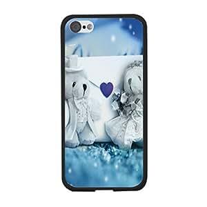 Love Heart Pattern Designer Cute Teddy Bears Couple Print Blue Case Cover for Iphone 5c Hard Back Case Shell for Teen Girls