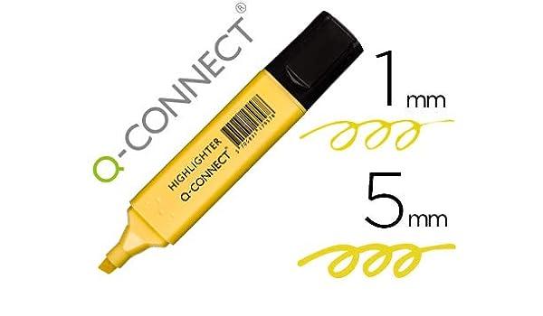 Q- CONNECT Rotulador Fluorescente Pastel Amarillo Punta biselada: Amazon.es: Juguetes y juegos